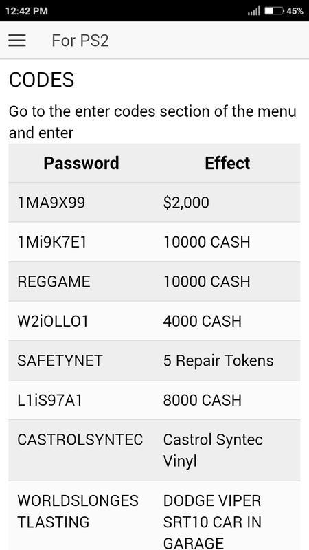 nfs pro street psp cheat codes