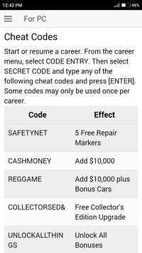 Cheat code for Need for Speed Pro Street Games NFS apk screenshot