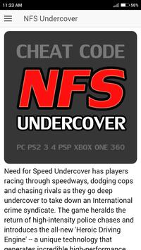 Cheat Code for Need for Speed Undercover Games NFS poster