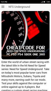 Cheat Code for NFS Underground Games poster