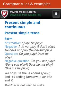 English tenses exercises apk screenshot