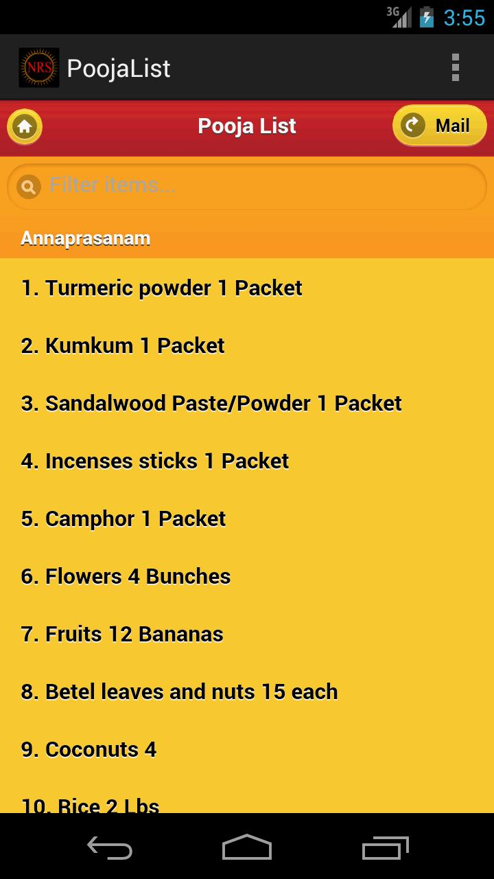 Pooja List for Android - APK Download