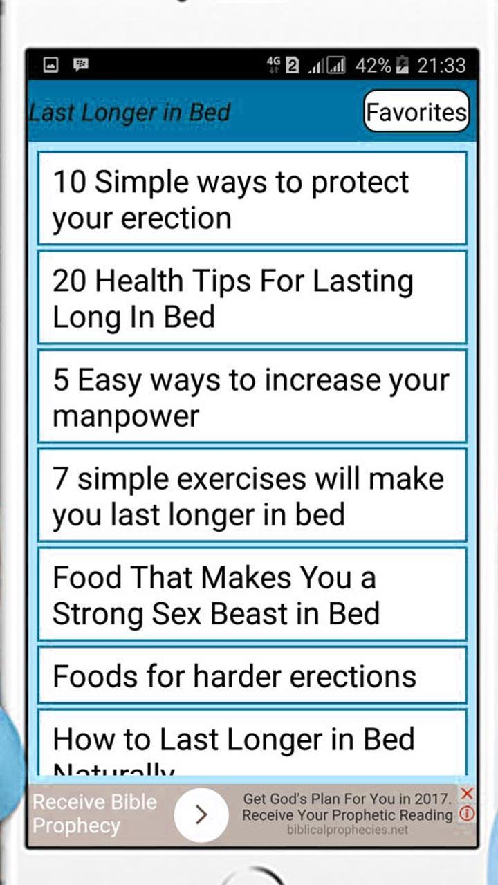 Tips on lasting long in bed