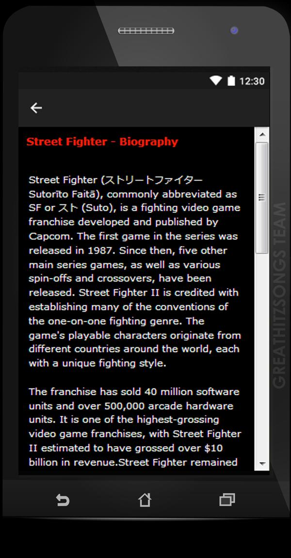 Ost  Street Fighter Songs & Lyrics, free  for Android - APK