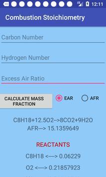 Combustion Stoichiometry screenshot 1