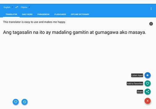 Filipino English Translator apk screenshot