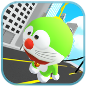 Green Robot Cat Copter Surfers icon