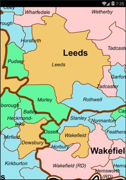 Map of West Yorkshire County poster