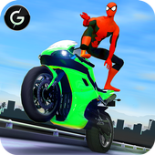 3D Hero Super hero Rider - Moto Traffic Shooter icon