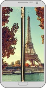 Paris zipper lock screen poster