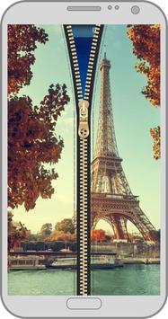 Paris zipper lock screen apk screenshot