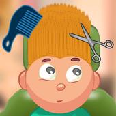 Child game / blonde hair cut icon