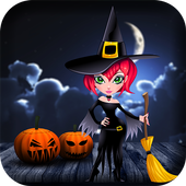 Halloween witch bird icon