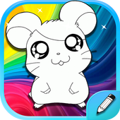 hamster coloring book icon