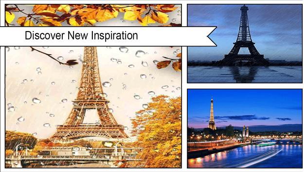 Rainy Paris Waterdrop Eiffel Tower Wallpaper 3D poster