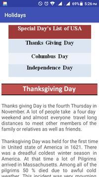 USA Holidays Story & Calendar poster