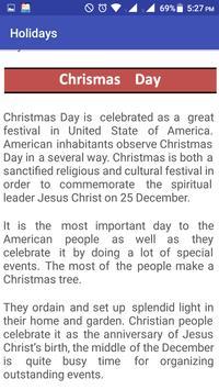 USA Holidays Story & Calendar screenshot 2