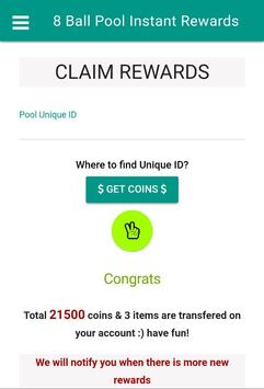 8 Ball Pool Instant Rewards - Free coins captura de pantalla de la apk