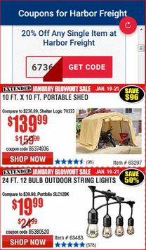 Coupons for Harbor Freight Tools screenshot 1