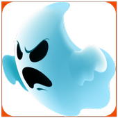 Ghost in a haunted house icon