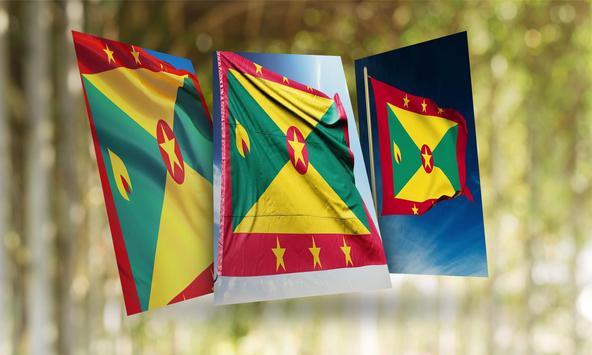 Grenada Flag Wallpaper poster