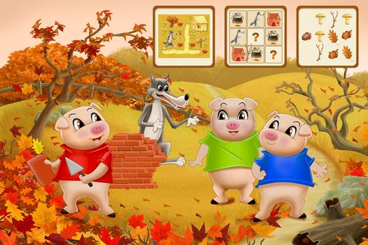 Three Little Pigs - Fairy Tale with Games Free poster