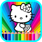 Coloring book for hello Kitty icon