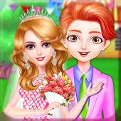 Princess makeup salon and wedding dressup icon
