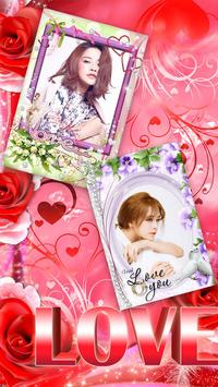 Photo collage - flower frame poster