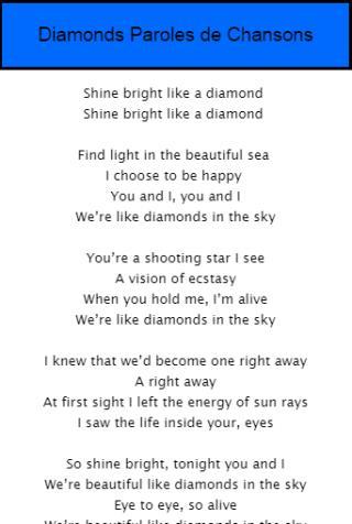 Diamonds Paroles De Chansons For Android Apk Download