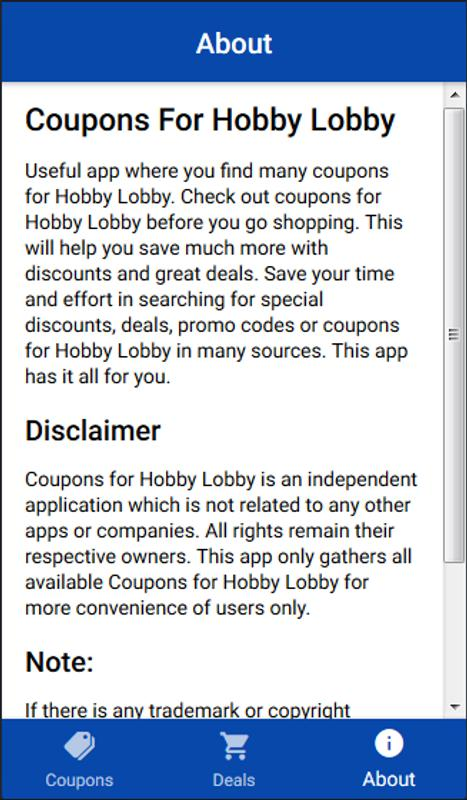 Coupons For Hobby Lobby Shopping For Android Apk Download