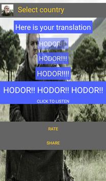 Hold the door Hodor Translated poster
