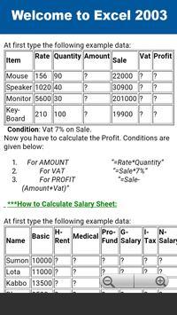 Excel 2003 Tutorial apk screenshot
