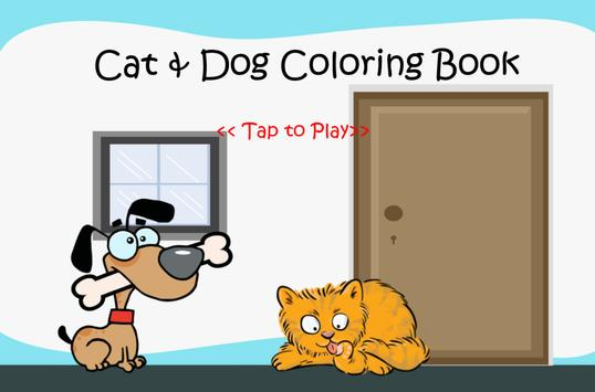 Cat and Dog Coloring Book Kid poster