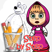 how to draw masha step by step icon