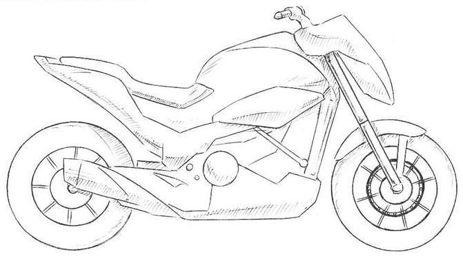 Картинка как нарисовать мотоцикл