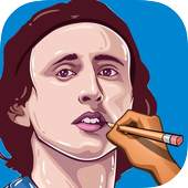 How to sketch and draw Luka Modric icon