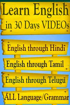 Learn English in 30 Days through VIDEOs App poster