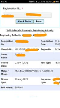 RTO Vehicle registration information screenshot 1
