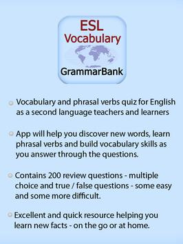 ESL Vocab Quiz - GrammarBank poster