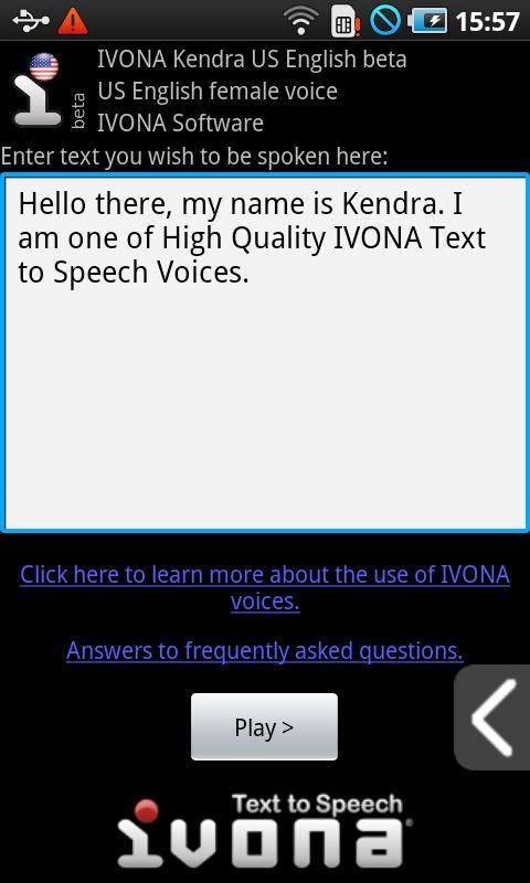 IVONA Kendra US English beta for Android - APK Download