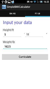 SimpleBMICalclucator apk screenshot