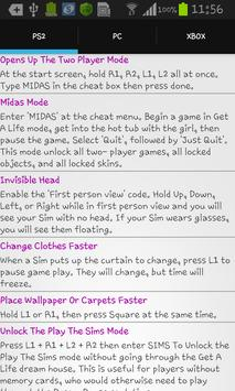 Unofficial Cheats For The Sims apk screenshot