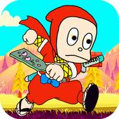 angry ninja in jungle icon