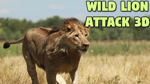 Wild Lion Attack 3D poster