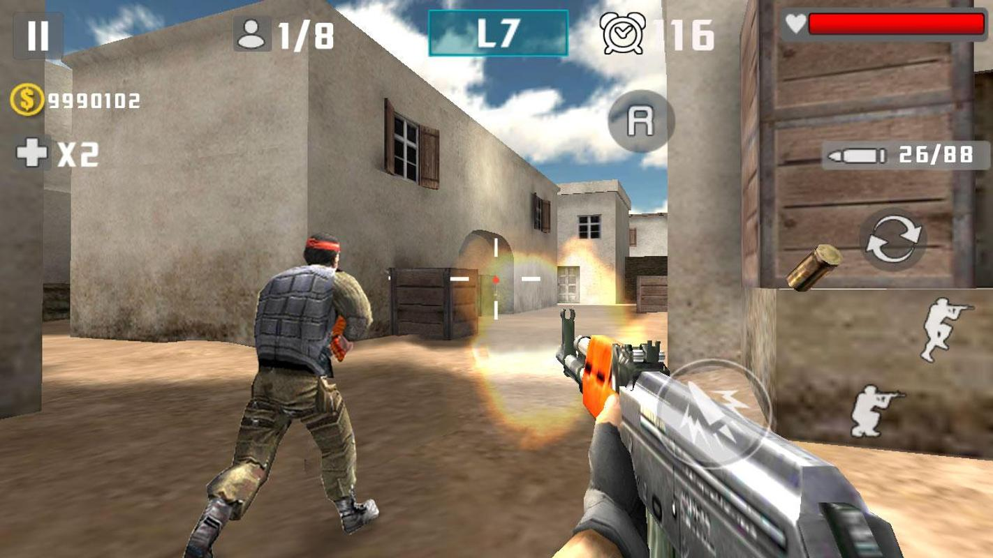 Download Gun Shot Fire War.apk android apk files version 1.2.6 Size is 32664454 md5 is 077db5cdf7f3aff873c2224cc4a50642 By LuGame This Version Need Jelly Bean 4.1.x API level 16 or higher, We Index Version From this file.Version code 26 equal Version 1.2.6 .