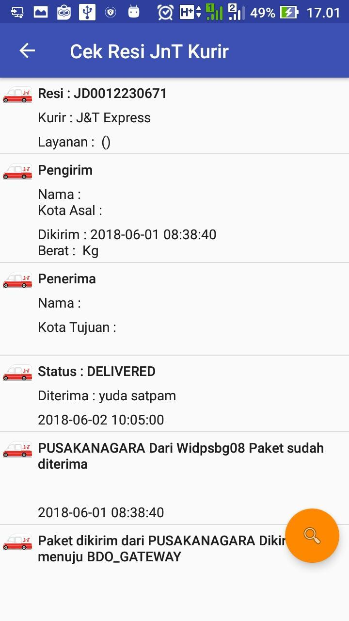 Cek Resi Jnt Paket J T For Android Apk Download