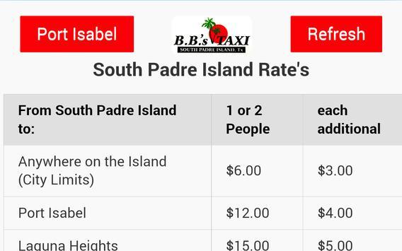 BB's Taxi Prices تصوير الشاشة 1