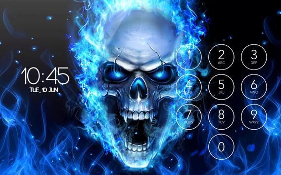 Blue Flaming Skull Wallpaper Theme Lock Screen HD Screenshot 10