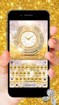Goldglitterclock Keyboard Theme poster
